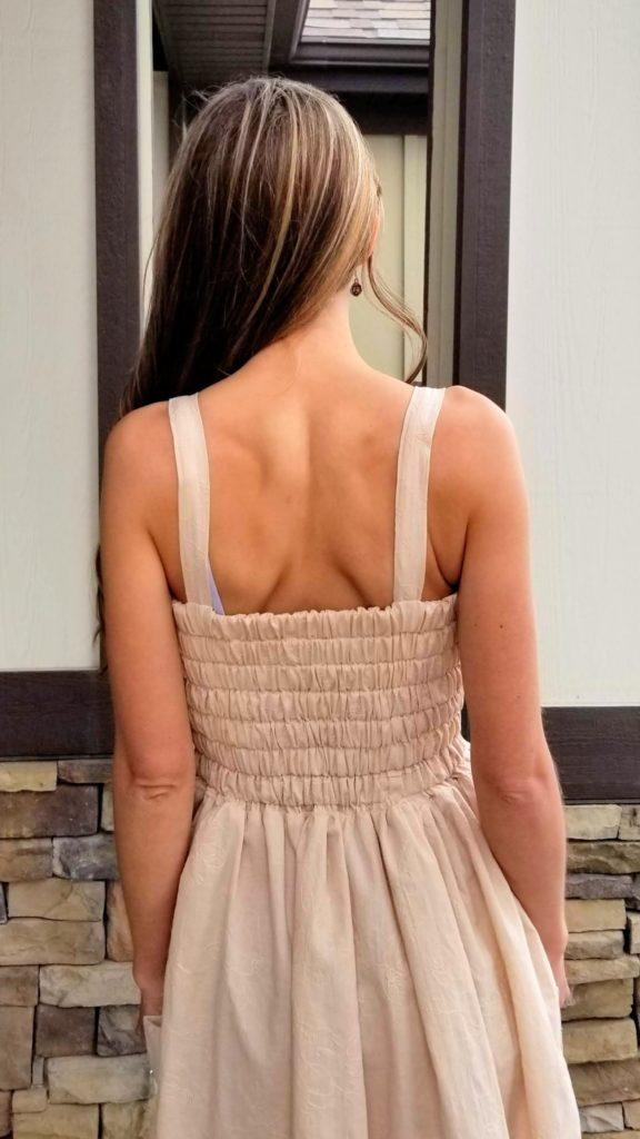 elastic back on woven dress